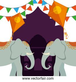 poster of kites with elephants and party banner