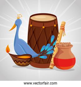 turkey with barrel and flute with candle decoration