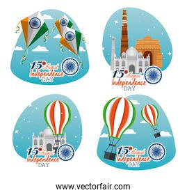 set of india posters decoration holiday