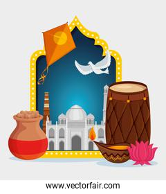 kites with taj mahal and barrel with flower and candle