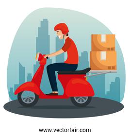 delivery man in the motorcycle with boxes packages