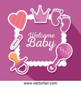 poster with crown and footprint with rattle and pacifier decoration