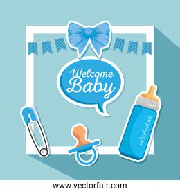 poster of feeding bottle and ribbon bow with chat bubble