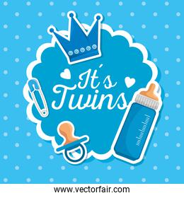 label of twins celebration with pacifier and feeding bottle