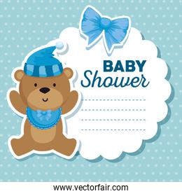 label of bear with hat and bib with ribbon bow