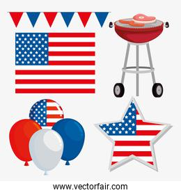 set of party banner with usa flag and balloons