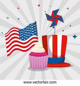 usa flag with muffin and hat decoration