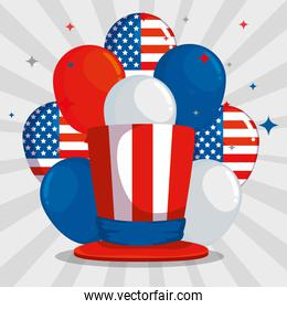 usa flag balloons with hat and stars decoration
