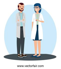 woman and man doctors with uniform and glasses