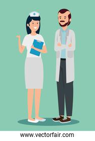 woman nurse and man doctor with uniform