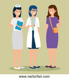 woman nurse and doctor with professional businesswoman
