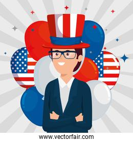 businessman with hat and glasses with usa balloons