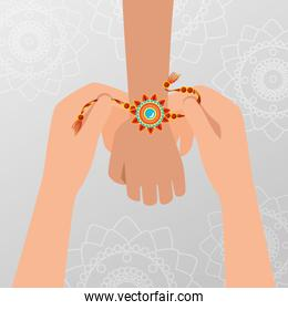 hands with flowers bracelet hindu tradition