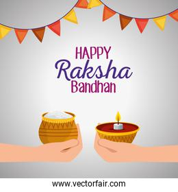 hands with food and candle with party banner