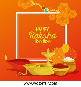 poster of hindu event with flowers and candles with food