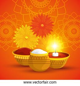 poster of hindu flowers with food and candle