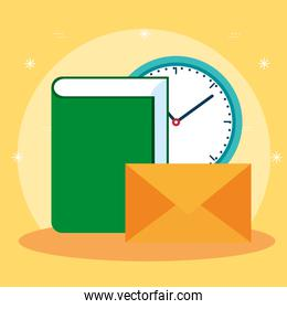 office book with clock and letter message
