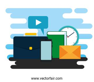 business briefcase with video chat bubble and clock