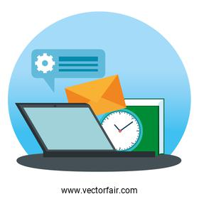 laptop technology with letter message and book information
