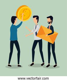 professional businessmen teamwork with coin and letter