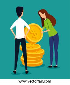 professional businessman and businesswoman teamwork with coins