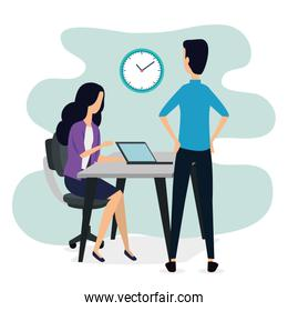 businessman and businesswoman office with laptop and clock