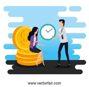 businesswoman sitting in the coins and businessman with clock