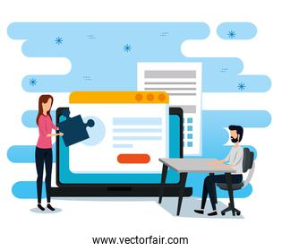 businesswoman and businessmen with website document and laptop