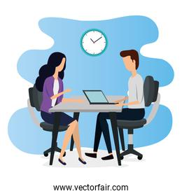 businesswoman and businessman teamwork with laptop and clock