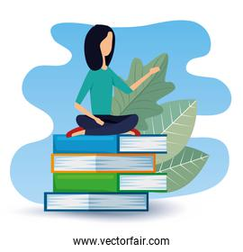businesswoman sitting in the books with leaves plants