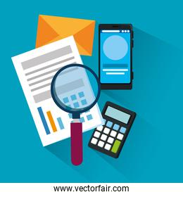 document information with magnifying glass and smartphone