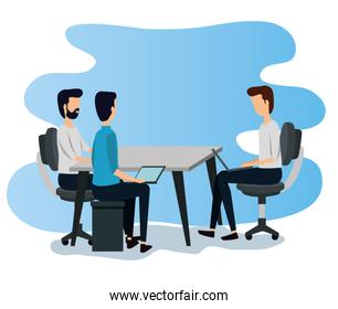 professional businessmen teamwork with desk and sitting in the chair