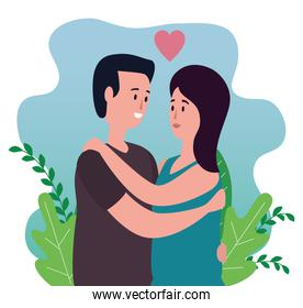 woman and man in love couple with heart