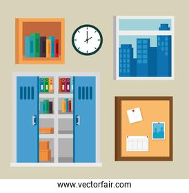 set of office books in the bookcase and window with clock and noteboard