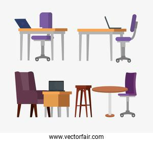 set of office desks with chairs and laptop information