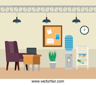 laptop in the desk with chair and noteboard with clock
