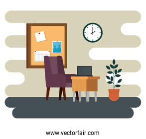 laptop in the desk with chair and noteboard with clock and plant