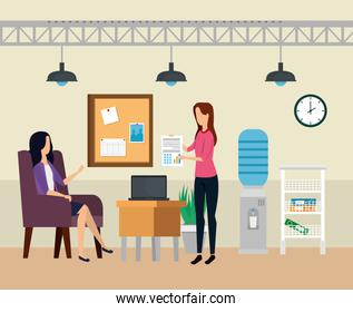 businesswomen with laptop technology and noteboard with clock