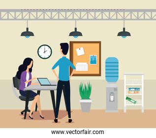 businesswoman and businessman with laptop and noteboard with plant