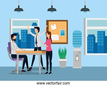businessmen and businesswoman teamwork with noteboard and desk