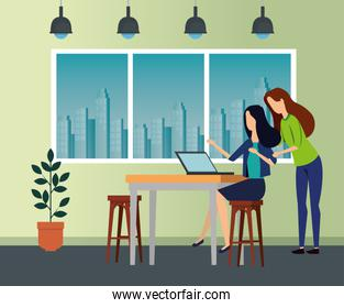 businesswomen with laptop in the desk and chairs with lights