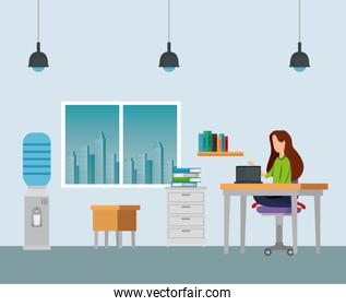 businesswomen with laptop in the desk and chairs with windows