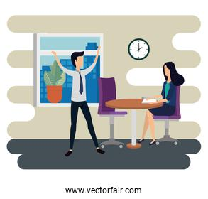 businesswoman and businessman teamwork with documents in the table and clock