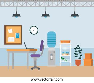 laptop in the desk with chair and water purifier with clock