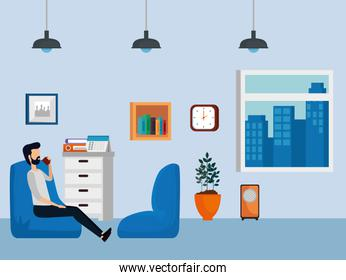 businessman sitting chair with books and file cabinet