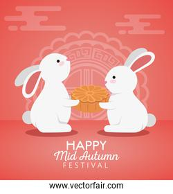 rabbits together with cookie and chinese decoration