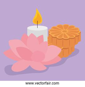 flower decoration with candle design and cookies