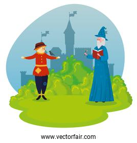 scarecrow with old man wizard and magic wand