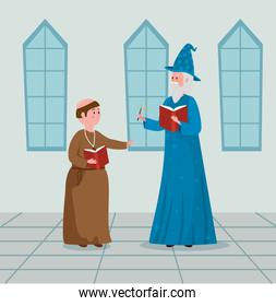 man monk and wizard with book and magic wand