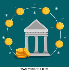 finance bank with coins cash currency